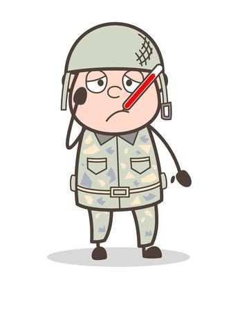 Cartoon Sad Old Man Face with Bandage Vector Illustration Иллюстрация