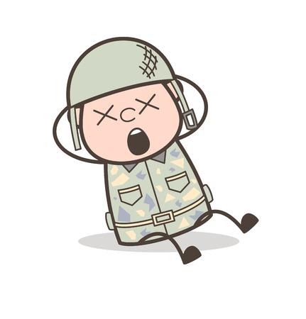 Cara de abuelo de dibujos animados con termómetro de fiebre Ilustración vectorial
