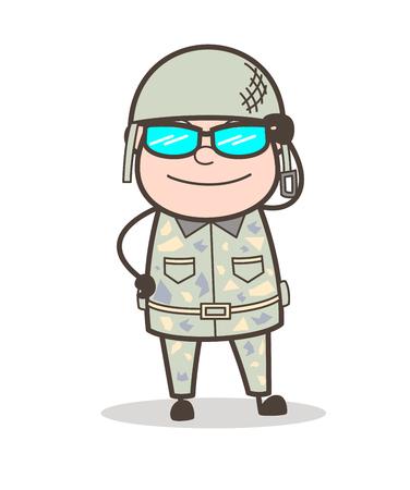 Cartoon Granddad Smiling Face with Halo Vector Illustration