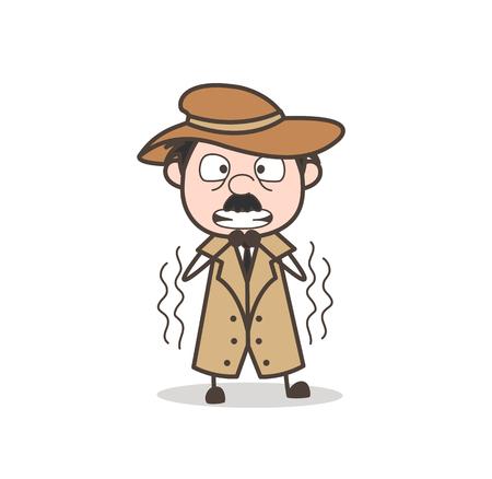 Cartoon Old Guy Having Pain in Waist Vector Illustration