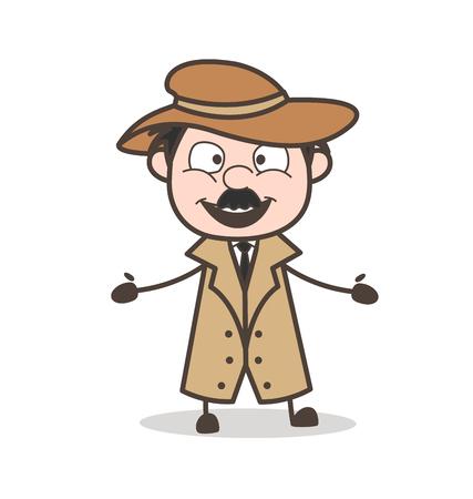 Cartoon Grandpa Thinking Expression Vector Illustration