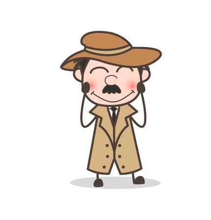 Cartoon Old Person Fearful Face Vector Illustration Illustration