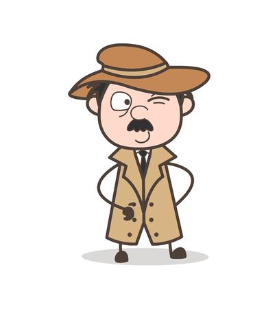Cartoon Funny Grandpa Scared Face Vector Illustration