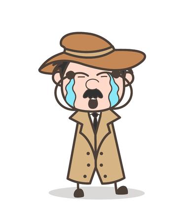 Cartoon Grandpa Depressed Face Vector Illustration