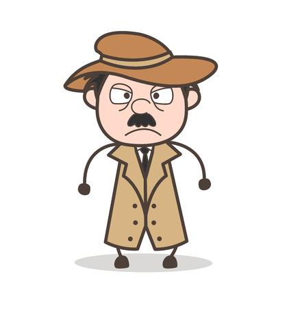 Cartoon Grandpa Hugging Face Vector Illustration Illustration