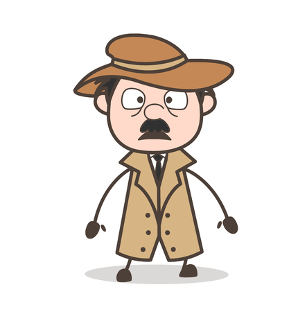 Cartoon Grandfather Surprised Face with Open Mouth Illustration