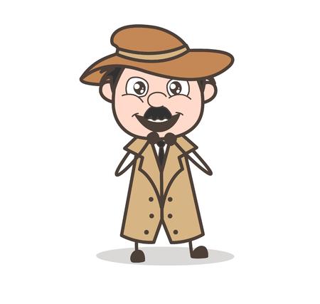 Cartoon Grandpa Aggressive Face Vector Illustration