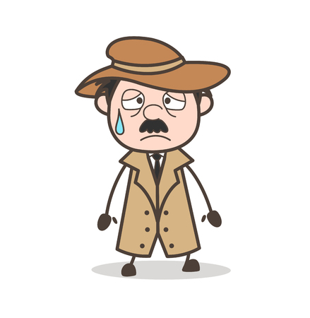 Cartoon Grandpa Winking Face Vector Illustration