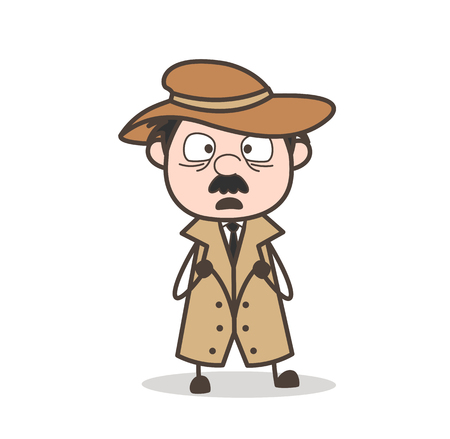 Cartoon Grandfather Smiley Face Vector Illustration