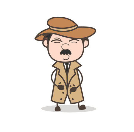 flushed: Cartoon Old Person Disappointed Face Vector Illustration Illustration