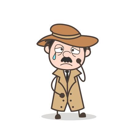 Cartoon Old Man Hanging Upside Down Vector Illustration