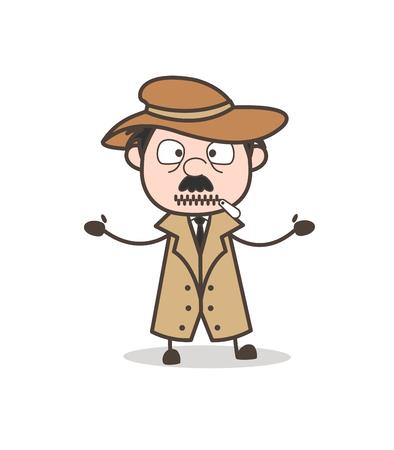 Cartoon Granddad Shocking Face Vector Illustration Illustration
