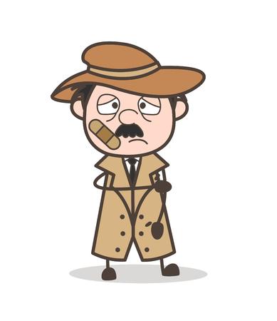 flushed: Cartoon Old Man Astonished Face Vector Illustration