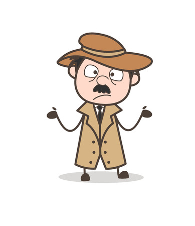 Cartoon Old Man Disappointed Face Vector Illustration Ilustração