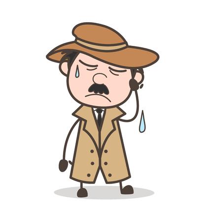 Cartoon Clever Old Man Running Pose Vector Illustration
