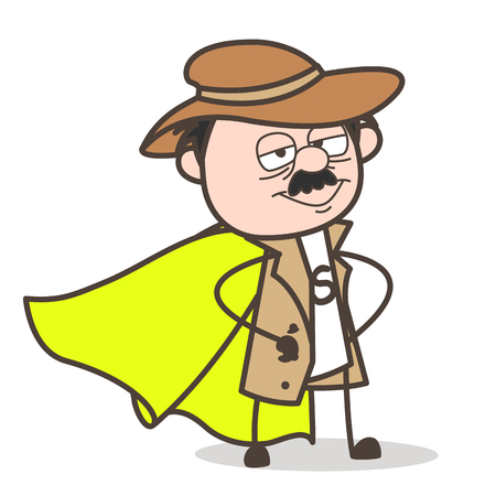 Cartoon Calm Grandpa Expression Vector