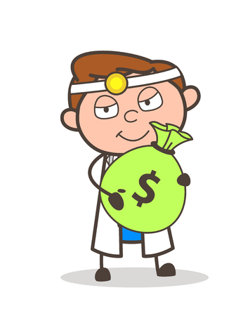 Cartoon Old Guy with Bundle of Money Vector Illustration