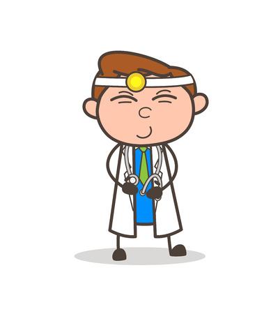 漫画おじいちゃん狡猾な笑顔のベクトル図  イラスト・ベクター素材