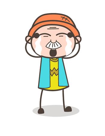 Cartoon Granddad Crying Face Vector Illustration Иллюстрация
