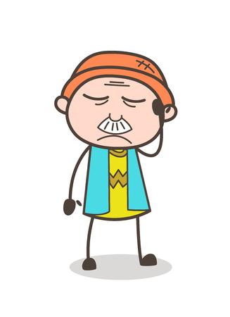 Cartoon Old Guy Having Headache Vector Concept