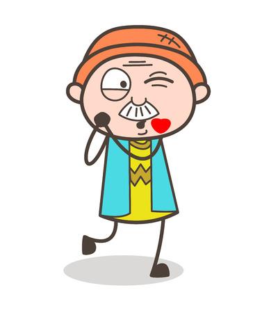 Cartoon Grandpa Kissing Face with Winking Eye