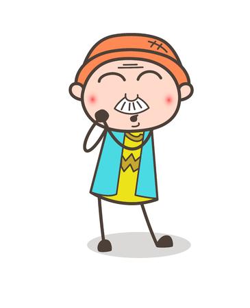Cartoon Grandpa Blushing Expression Vector Illustration