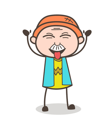 Cartoon Funny Old Man with Stuck-Out Tongue Vector Illustration