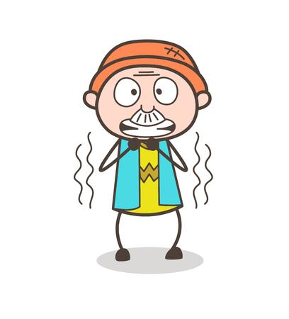 Cartoon Grandpa Shivering in Fear Vector Illustration