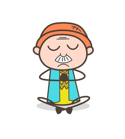 Cartoon Grandpa Sitting and Doing Meditation Vector Illustration