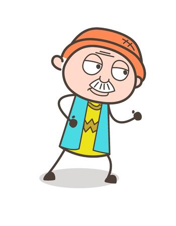 Cartoon Old Guy Running Pose Vector Illustration Illustration