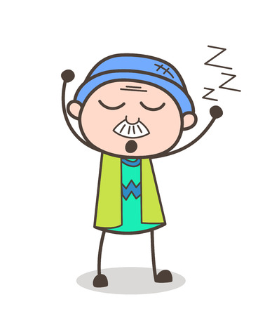 Cartoon Sleepy Grandpa Vector Expression