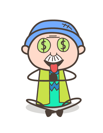 Cartoon Greedy Old Guy Expression for Money Vector Illustration Stock Vector - 83658187