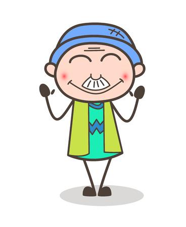 Cartoon Granddad Blushing Face Vector Illustration