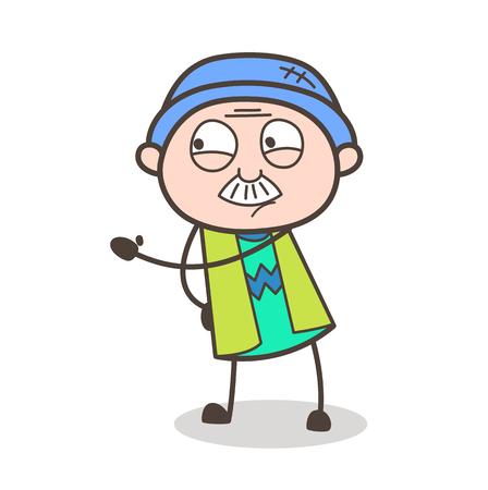 Cartoon Grandpa Showing Hand Vector Illustration Illustration