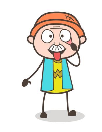 Cartoon Funny Grandpa Making Face Vector Illustration