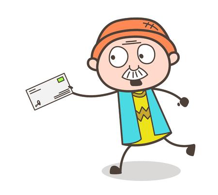Cartoon Grandpa Running to Deliver the Envelope Vector Illustration Illustration