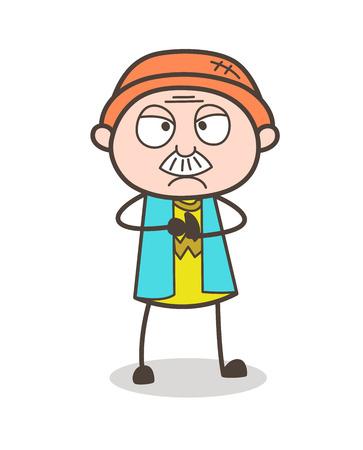 Cartoon Grandpa Pouting Face Vector Illustration Illustration