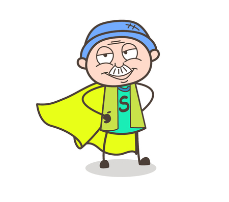 Cartoon Super Rescuer Grandpa Smiling Expression