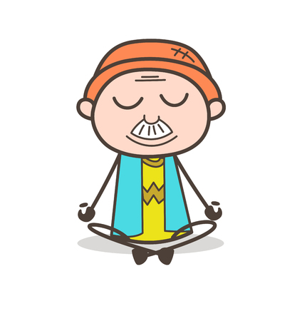 Cartoon Granddad Doing Yoga Vector Illustration