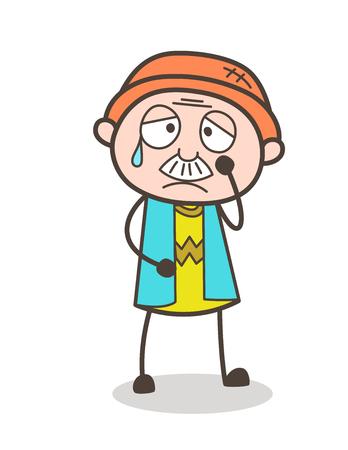Cartoon Old Man Disappointed Face Vector Illustration Иллюстрация