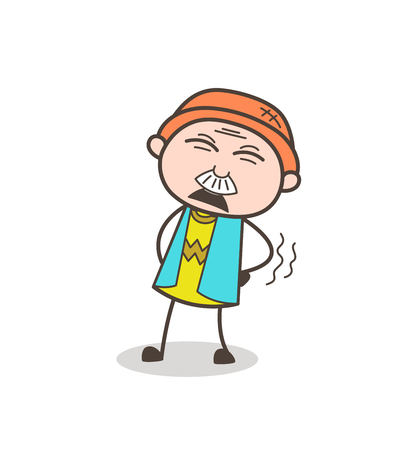 Cartoon Old Guy Having Pain in Waist Vector Illustration
