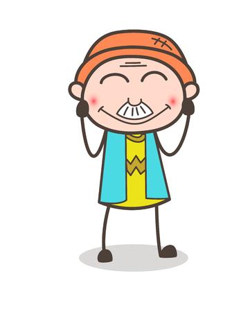 漫画老人目ベクトル図をにっこり笑顔