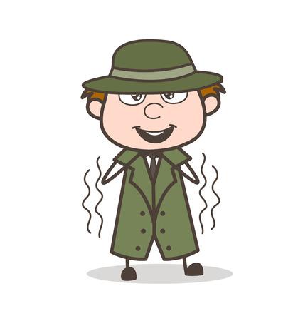 Cartoon Funny Detective Trembling Vector Illustration Vettoriali