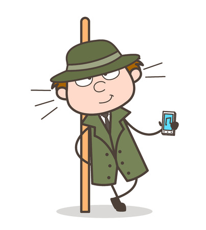 Cartoon Detective Showing a Best Music Device Vector Illustration