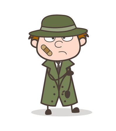 Cartoon Detective with Bandage on Face Vector Illustration