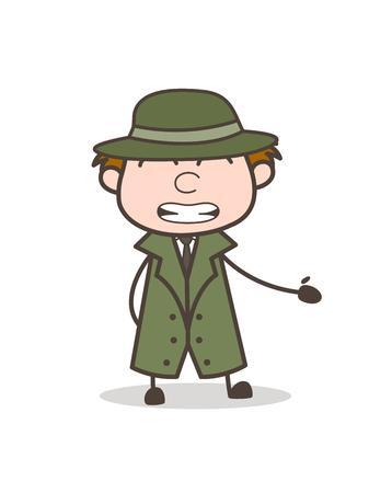 Cartoon Detective Cheap Smile Expression Vector Illustration