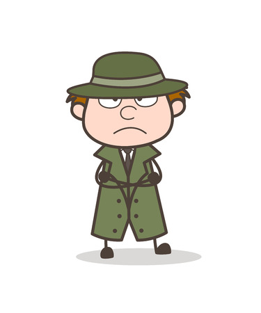 Cartoon Detective Upset Face Vector Illustration Illustration