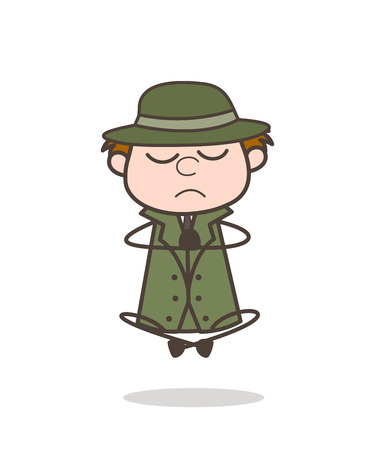 Cartoon Detective Doing Concentration in Yoga Vector Illustration