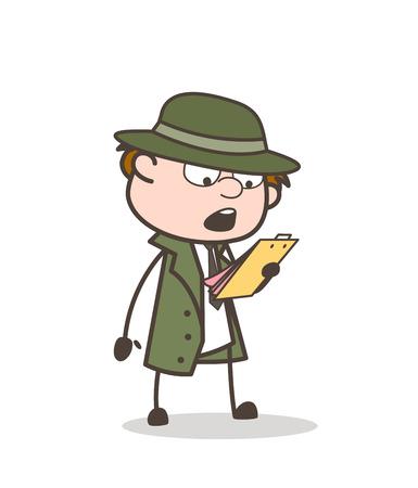 Cartoon Detective Reading Report Card Vector Illustration