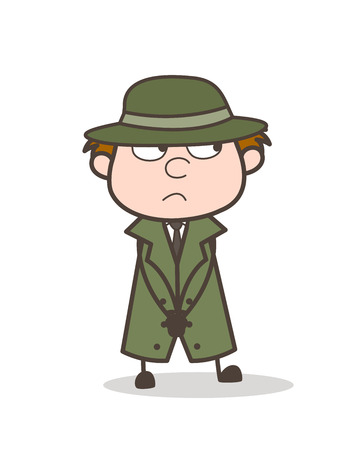 Cartoon Detective Mysterious Face Expression Vector Illustration